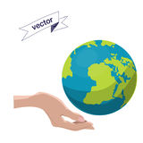 Low polygon Hands and globe vector illustration Royalty Free Stock Image