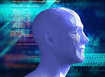 Low polygon human head 3d illustration on technology background. Represent Stock Image