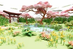 Low polygon Illustration cartoon style of a asian Japanese garden. royalty free stock photos
