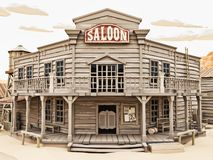 Low polygon Illustration toon style of a western town Saloon with various buildings. stock image