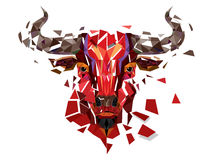 Low polygon Red bull head with geometric pattern- Vector illustr Stock Photo