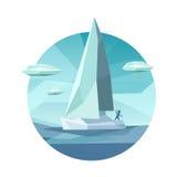 Low polygon sailing ship icon Royalty Free Stock Photo