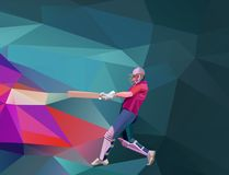 Abstract cricket player polygonal low poly illustration Stock Illustration