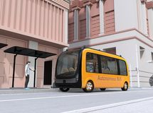 Low polygon style man using smartphone to request a ride sharing self-driving shuttle bus. The bus closing the bus stop. 3D rendering image stock illustration