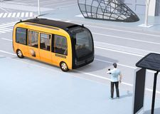 Low polygon style man using smartphone to request a ride sharing self-driving shuttle bus. The bus closing the bus stop. 3D rendering image vector illustration