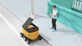 Low polygon style man using smartphone to unlock self-driving delivery robot`s door