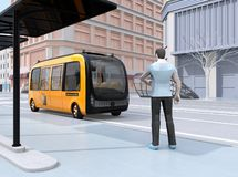 Low polygon style man waiting self-driving shuttle bus at bus stop. The bus closing to the bus stop. 3D rendering image vector illustration