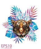 Low polygon tiger head and Colorful tropical leaf pattern background. Illustration EPS 10 royalty free illustration