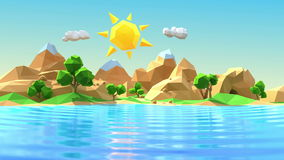 Low polygonal cartoon island