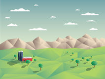 Low polygonal farming agriculture landscape Stock Images