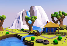 Low polygonal geometric landscape with mountains, trees, river and house. 3D illustration Stock Photography