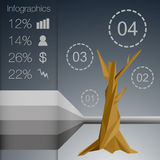 Low polygonal infographics tree with different symbols. Stock Photography