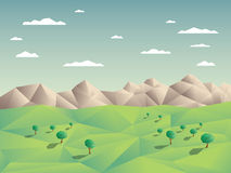 Low polygonal landscape concept illustration with Royalty Free Stock Photos