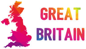 Low polygonal map of the United Kingdom of Great Britain and Nor Stock Photography