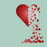 Low polygonal of red heart that crushed to a pieces in a half fa Stock Photo