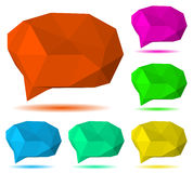 Low polygonal speech bubbles. Set of multicolored low polygonal speech bubbles with shadow Royalty Free Stock Images