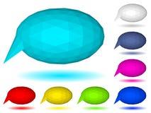 Low polygonal speech bubbles of triangular faces. Set of multicolored low polygonal speech bubbles of triangular faces with shadow Stock Photo
