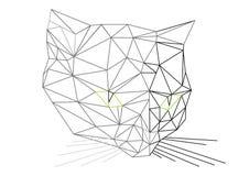 Low polygons 3D cat head illustration. Digital trendy vector illustration of cat portait. Flat design vector cat head illustration. Black and white abstract royalty free illustration