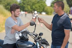 Low-power motorcycle for drivers training in driving school Stock Photos