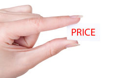 Low price. Lable in hand, isolated Stock Photography