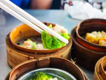 Low price dim sum. On street food Stock Photos