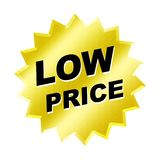Low Price Sign. Yellow low price sign - web button - internet design Royalty Free Stock Images