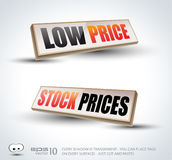 Low Price and Stock Prices 3D Panels Royalty Free Stock Images