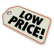 Low Price Tag Sale Clearance Discount Special Deal. Low Price words on a clearance sale sticker for products or merchandise on discount for a special store or Stock Photo