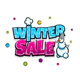 Comic text advertise winter sale. Low price winter sale comic text pop art advertise. Cute comics book seasonal rates poster phrase. Vector colored halftone Stock Photos