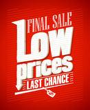 Low prices, final sale design. Low prices, final sale typographic design Stock Photo