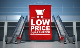 Low prices guaranteed advertising flag and escalator Stock Photos