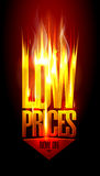 Low prices now on, hot fiery sale vector design with arrow move down. Stock Photos