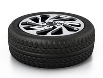 Low profile sport tyre and rim isolated on white background. 3D illustration.  Stock Image