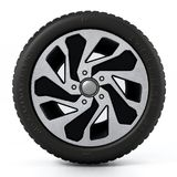 Low profile sport tyre and rim isolated on white background. 3D illustration.  Royalty Free Stock Images