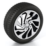 Low profile sport tyre and rim isolated on white background. 3D illustration.  Stock Photography