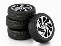 Low profile sport tyre and rims isolated on white background. 3D illustration.  Royalty Free Stock Images