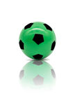 Low quality print green football or soccer ball Stock Photos
