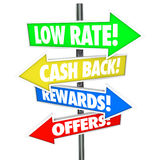 Low Rate Cash Back Rewards Offer Arrow Signs Best Credit Card De Stock Images