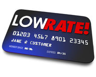 Low Rate Credit Cards Percentage Interest Charges Plastic Paymen. Low Rate words on a credit card to illustrate percentage interest charged on your payments or vector illustration