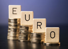 Low rate of the euro. The word Euro is to read on stacks with coins of different heights Royalty Free Stock Image