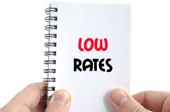 Low rates text concept. Isolated over white background royalty free stock photos
