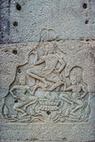 Low relief carving prasat bayon temple Angkor Thom Cambodia Royalty Free Stock Photo
