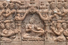 Low relief cement Thai style handcraft of hindu gods Royalty Free Stock Photos