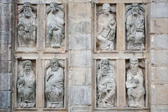 Low relief religious outside the cathedral of Santiago de Compos Royalty Free Stock Photography