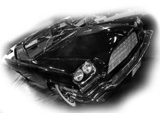 Low rider. Black shiny american muscle car stock photo