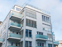 Low Rise Apartment Building with Small Balconies Stock Photo