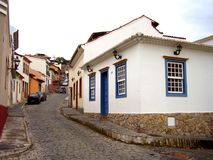Low rise architechture in São João Del-Rei. Is all part of the charm of this small historic Portuguese town in Brazil royalty free stock photography