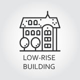 Low-rise building icon in outline style. Urban houses concept. Low-rise building icon drawn in outline style. Concept of advertising purchase and rental of Royalty Free Stock Photo