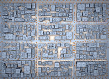 Low-rise city from above view. Blue Low-rise city from above view. 3d rendering Royalty Free Stock Photography