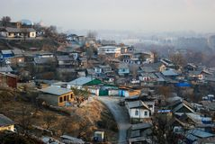Low-rise private building on the outskirts of Dushanbe.  stock photos